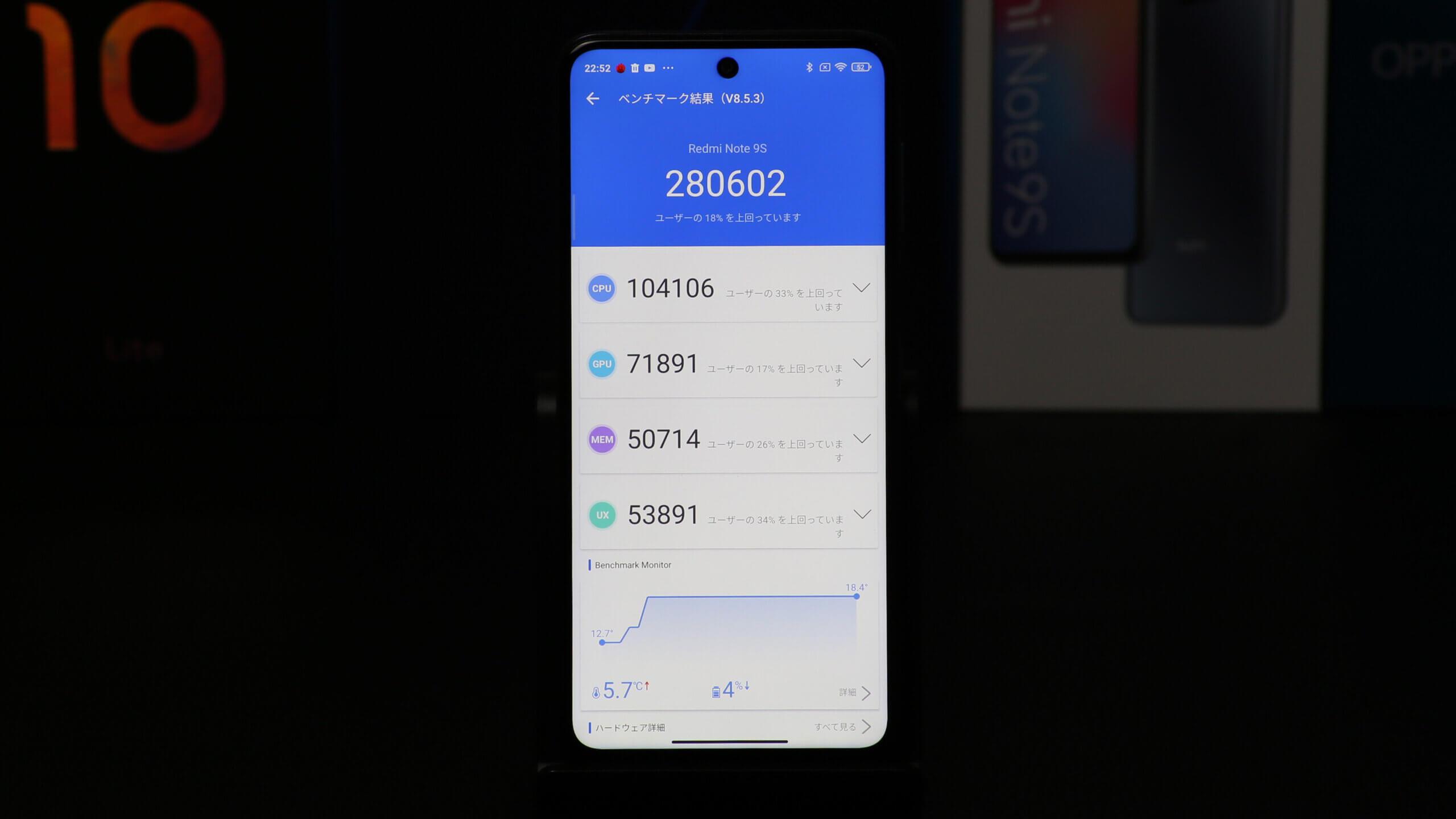 Xiaomi Note 9S Antutuベンチマーク