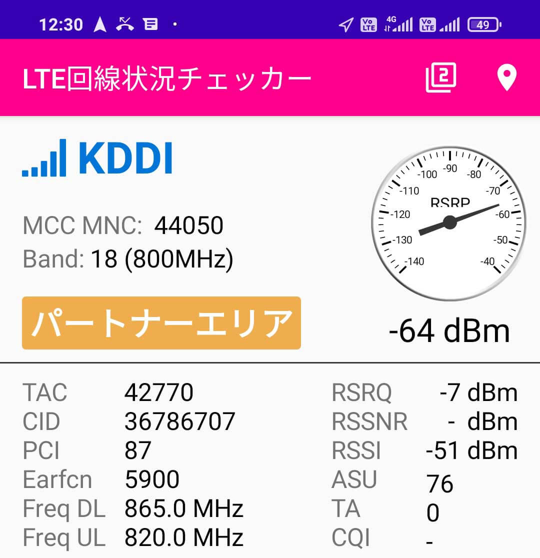 Redmi 9TではUQモバイルのバンド18が利用可能