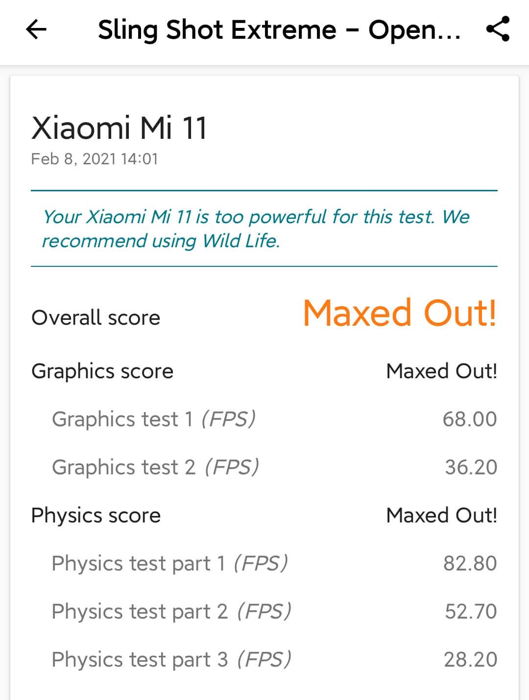Xiaomi Mi 11は3Dマークのグラフィックスコア68fps
