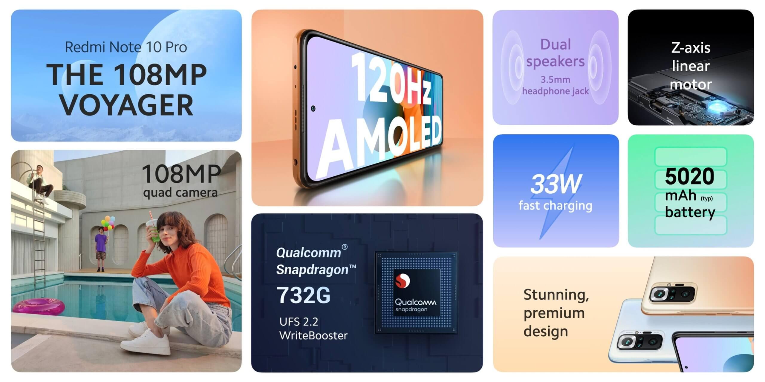 Redmi Note 10 Proは1億万画素に120Hzのリフレッシュレートに対応する有機ELディスプレイ搭載
