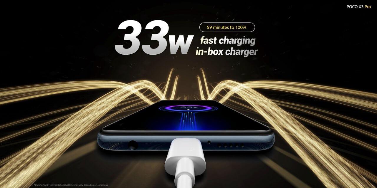 Xiaomi POCO X3 Proの最大充電速度は33W