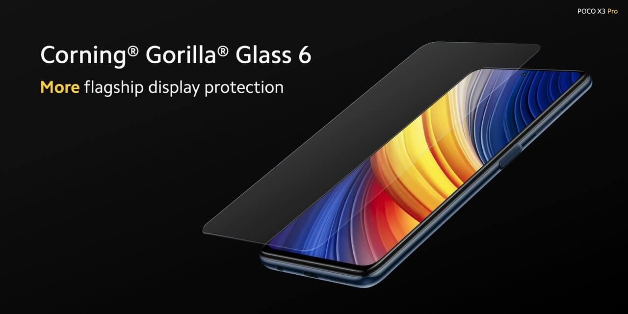 Xiaomi POCO X3 Proのディスプレイはゴリラガラス6