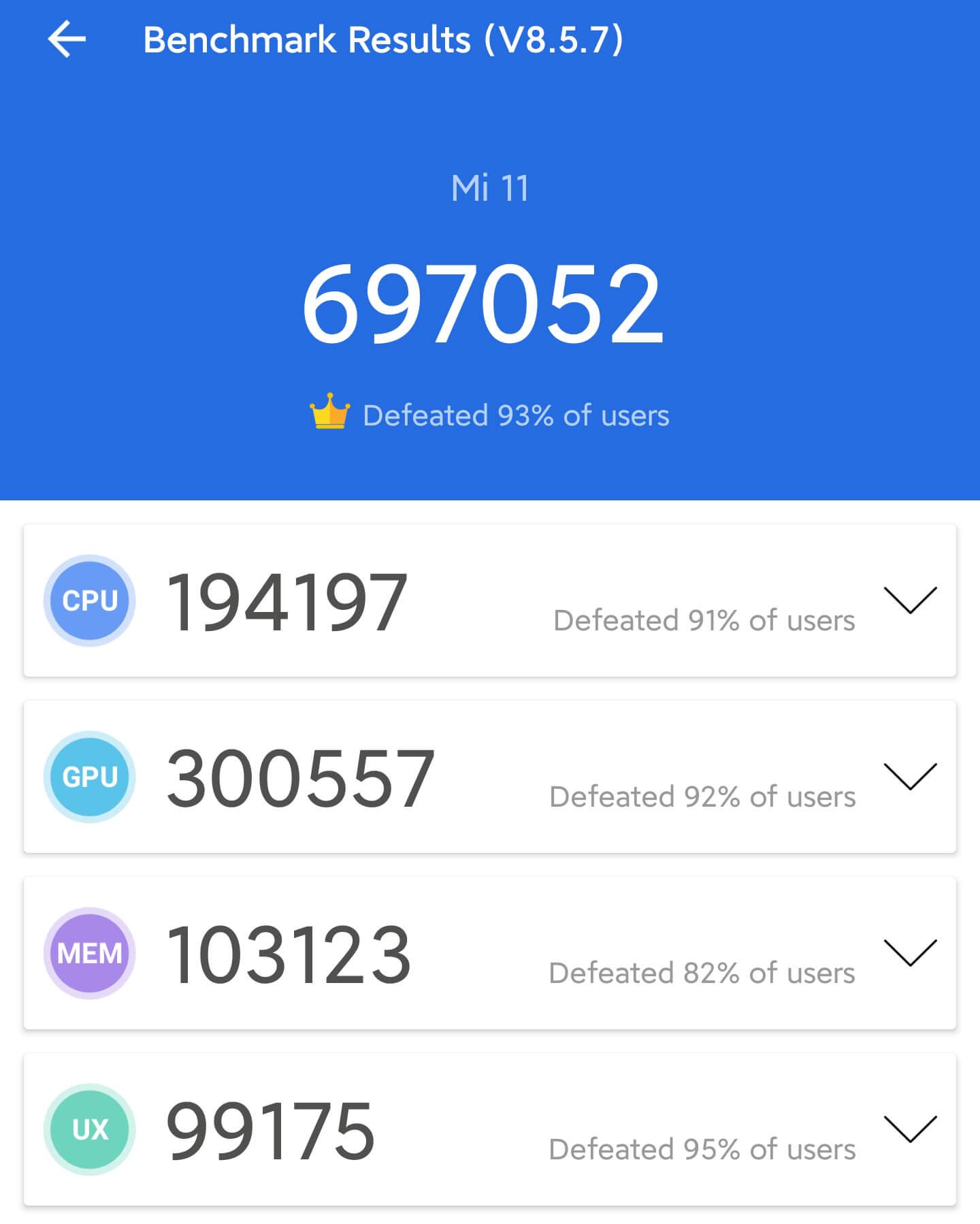 Xiaomi Mi 11のAntutuベンチマークスコア計測1回目は697052