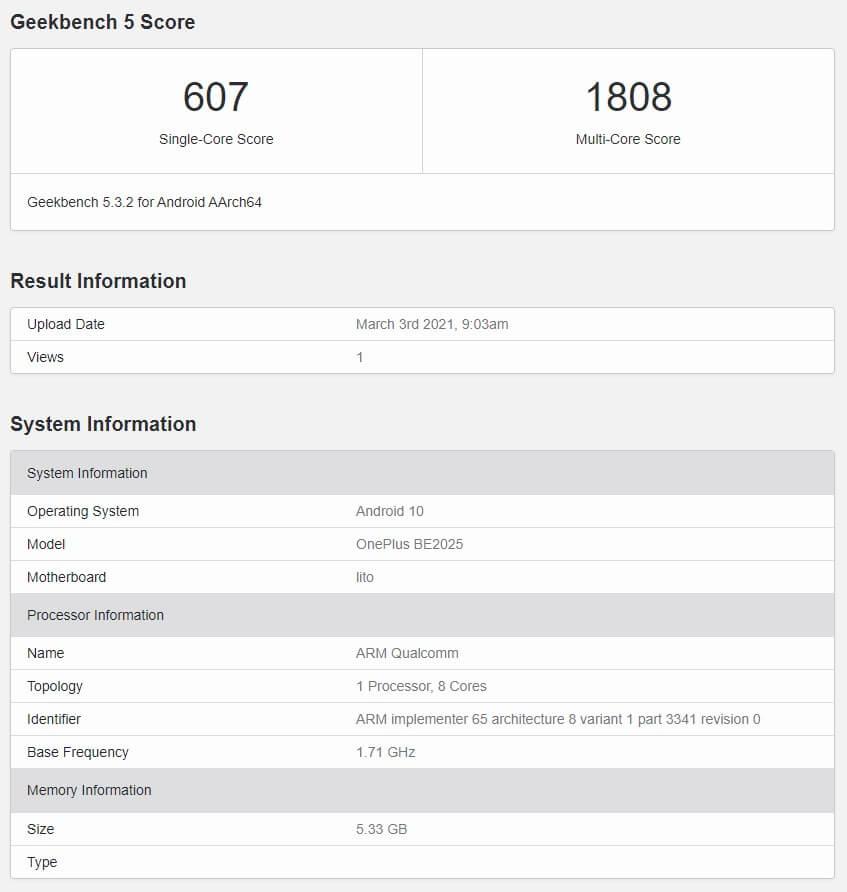 Snapdragon 690を搭載するOnePlus Nord N10のGeekBenchスコア