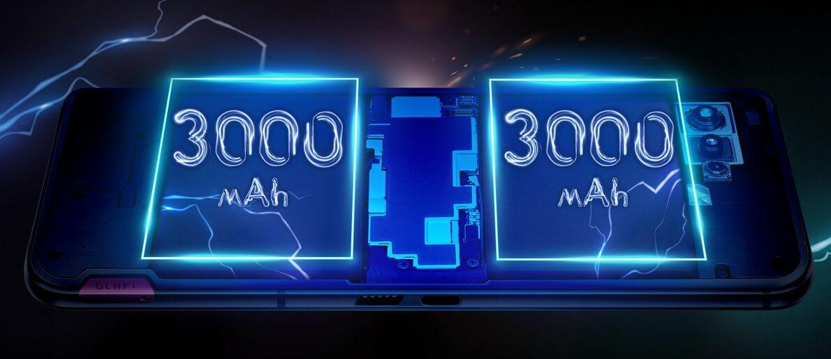 ROG Phone 5シリーズの電池は3000mAh+3000mAh。別々に充電する事で最大65Wの超急速充電を実現