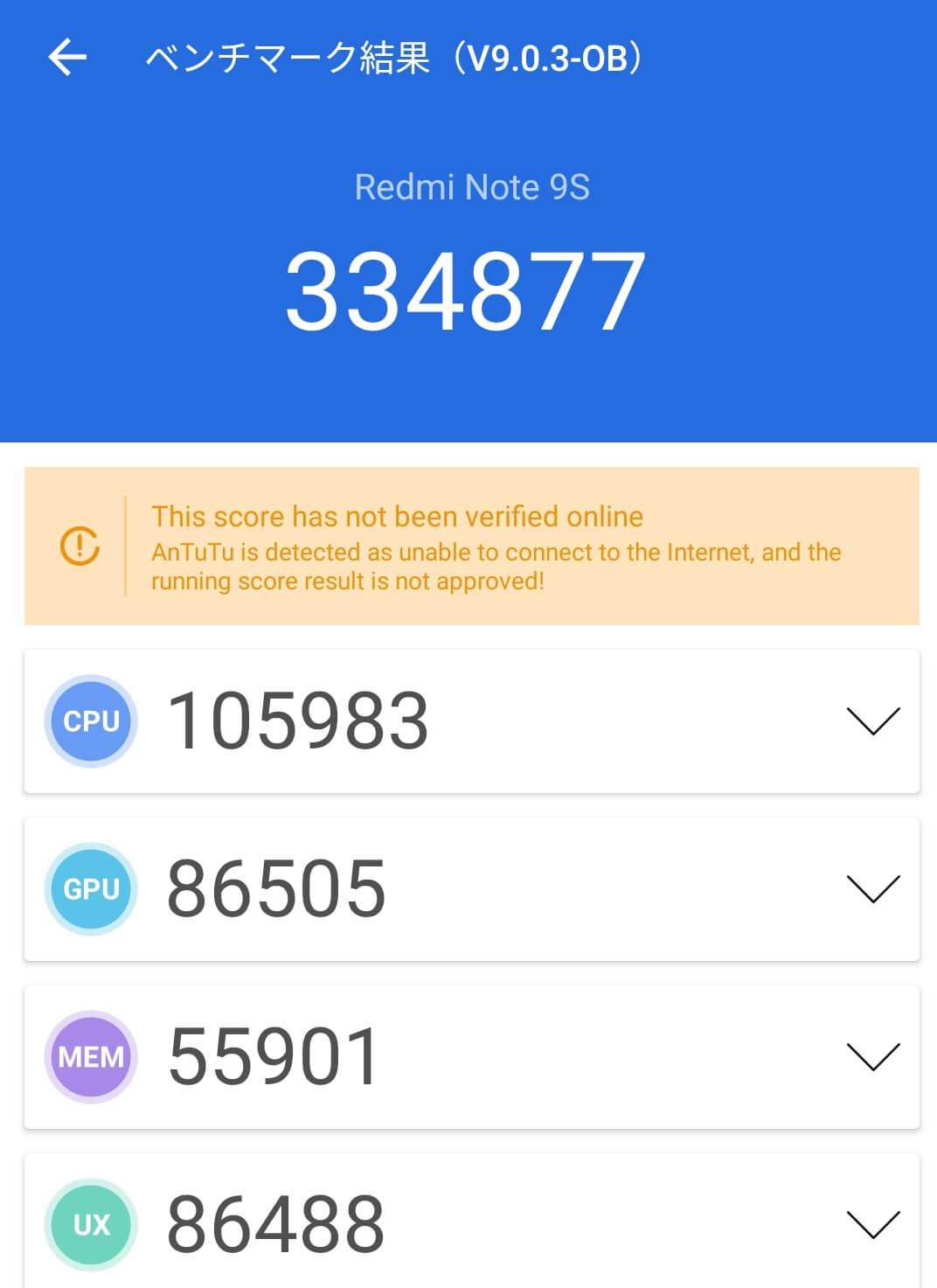 Redmi Note 9Sの総合処理能力をスコア化したAntutuのベンチマーク