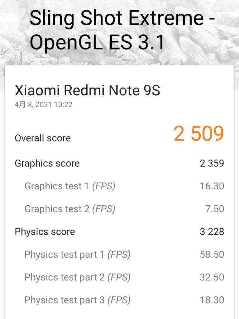 Redmi Note 9SのGPU性能