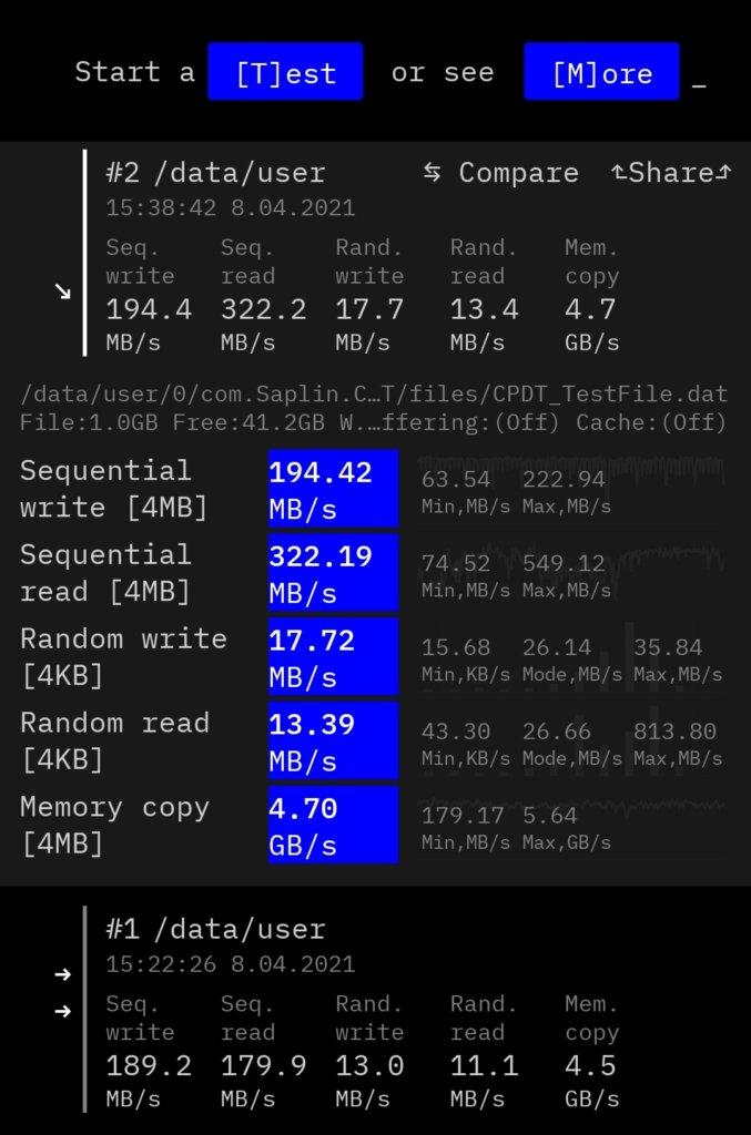 Mi Note 10のデータ読み書き速度