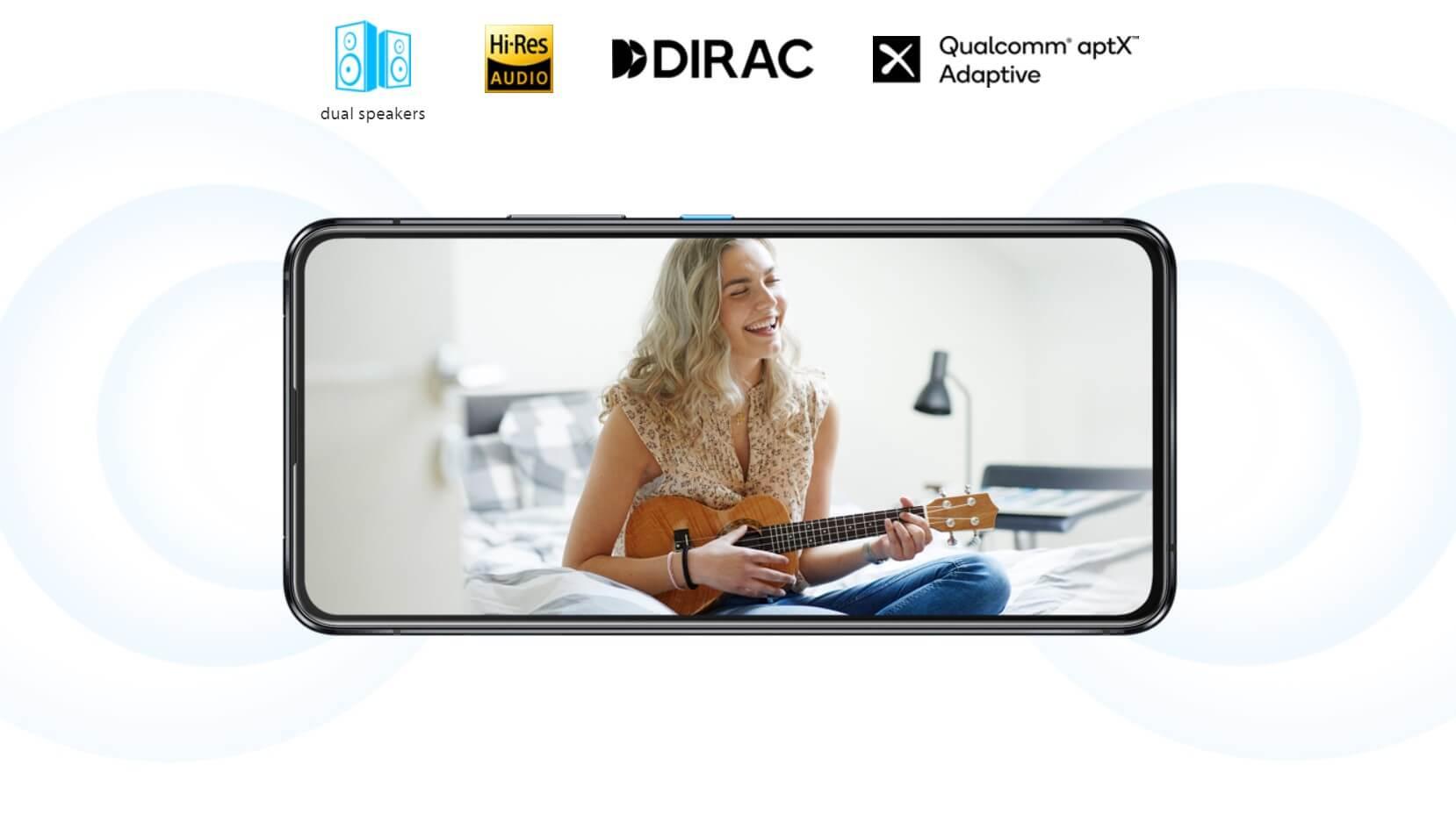 Zenfone 8 FlipはDiracHDサウンド対応のデュアルステレオスピーカー搭載