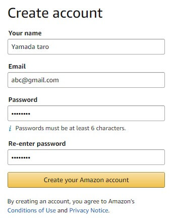 Amazon.comに登録する方法2