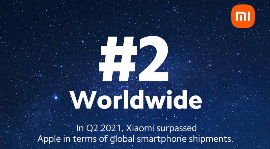 Xiaomiが世界2位に
